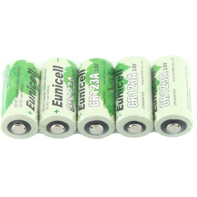 Lot 5 Piles Cr123A 3V Lithium 1500mAh EUNICELL