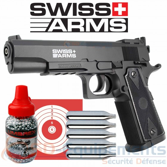 Pack pistolet CO2 Swiss Arms P1911 Match 4.5mm (2.2 joules)