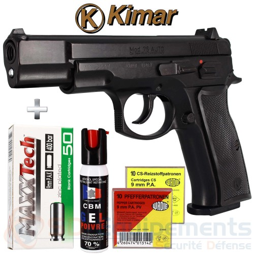 Pack Pistolet d'alarme CZ75 Bronze 9mm Kimar automatique